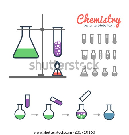 Chemical test tube icons set with laboratory tripod, chemical burner and illustration of process chemical reaction. Chemical lab equipment isolated on white.  - stock vector