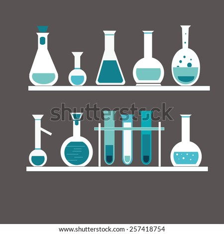 chemical test tube on the shelf - stock vector