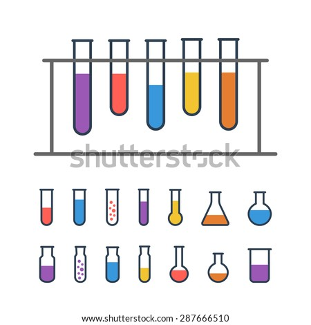 Chemical Test tube rack with flasks. Chemical lab equipment isolated on white. Experiment flasks for science experiment.  - stock vector