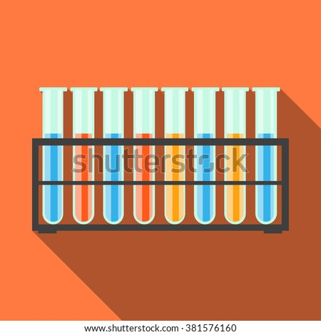 Chemical test tubes in stand. Flat style, long shadow. Vector illustration. - stock vector