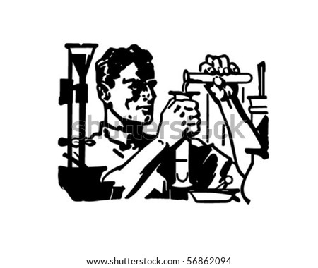 Chemist - At Work In The Lab - Retro Clip Art