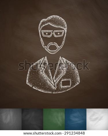 chemist icon. Hand drawn vector illustration. Chalkboard Design - stock vector