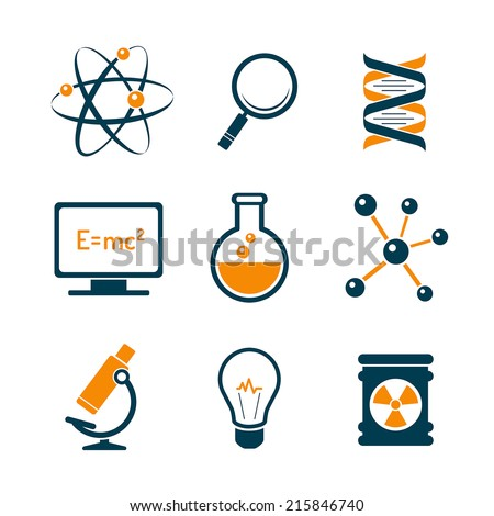Chemistry and bio technology science icons - stock vector