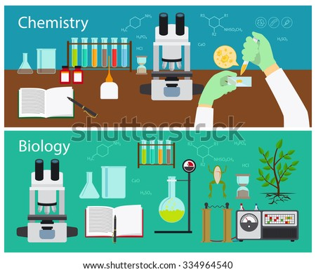 Chemistry and biology research vector banners set - stock vector