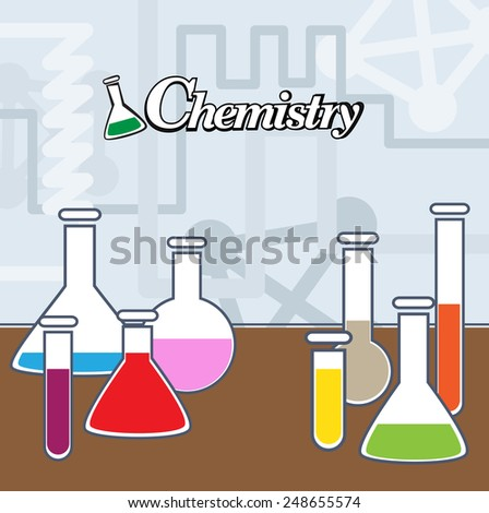 Chemistry background with testing tube symbols