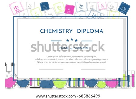 chemistry diploma certificate periodic system elements stock  chemistry diploma certificate periodic system of the elements and flasks
