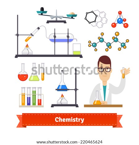 Chemistry equipment and chemist colourful flat icon set. EPS 10 vector. - stock vector