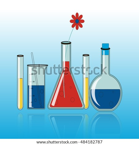 chemistry equipment with flower