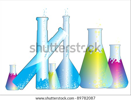 Chemistry flasks test tubes and chemical laboratory (glass vial) - stock vector