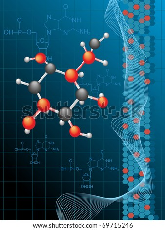 chemistry formula background with atomic structure