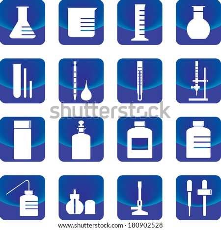 chemistry glassware and tools vector such as flask, buret, dropper, test tube - stock vector