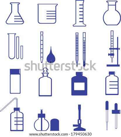 chemistry glassware and tools vector such as flask, dropper, test tube - stock vector
