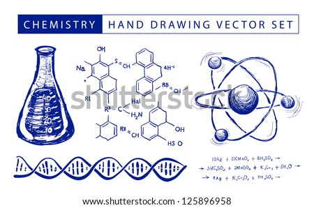 Chemistry hand drawing vector set illustration on white background - stock vector