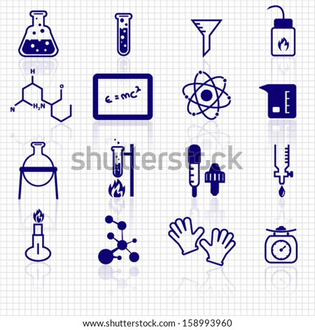 Chemistry icons - stock vector