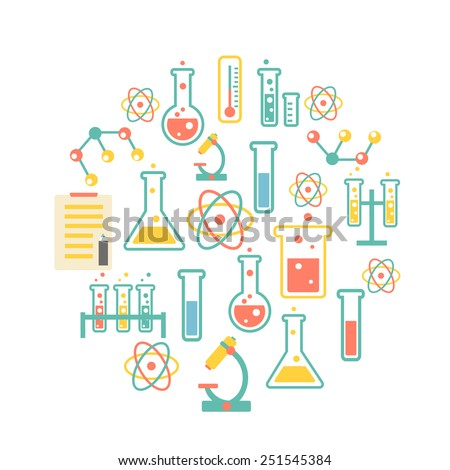 chemistry icons background for  biology and medical research posters - stock vector