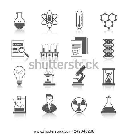 Chemistry icons black set with molecule structure microscope radiation warning sign isolated vector illustration - stock vector