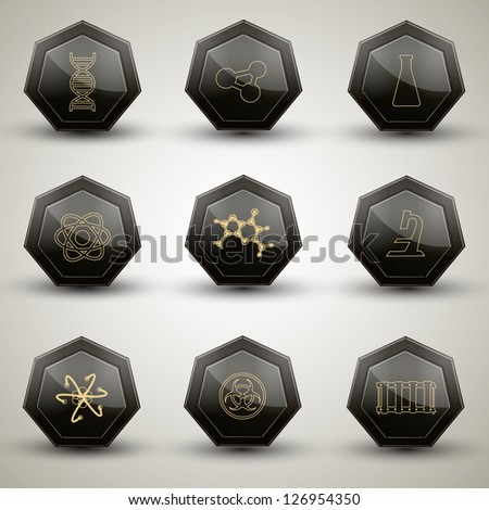 Chemistry icons set. Vector Illustration, eps10, contains transparencies. - stock vector