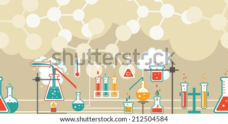 Chemistry infographic in a seamless horizontal pattern with a series of Erlenmeyer  conical flasks and beakers with various chemical solutions and reactions in a long line on atomic structure diagrams - stock vector