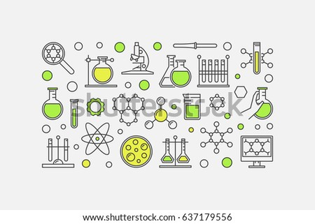 Chemistry lab colorful illustration vector science stock vector hd chemistry lab colorful illustration vector science and experiment minimal background made with linear icons ccuart Gallery
