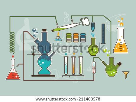 Chemistry laboratory infographic flat elements vector illustration. - stock vector