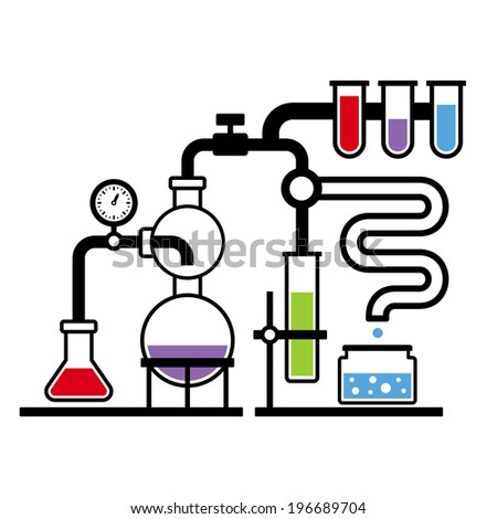 Chemistry Laboratory Infographic with Some Reaction. Vector - stock vector