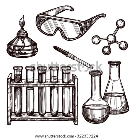 Chemistry laboratory tools and devices black and white sketch hand drawn decorative icon set isolated vector illustration - stock vector
