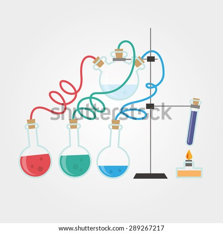 Chemistry laboratory with glass flasks and burner.