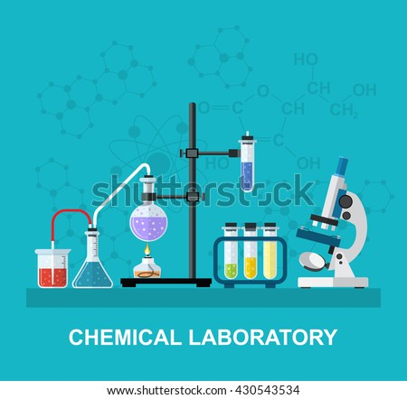 Chemistry laboratory workspace and science equipment concept. The chemical background, banner, cover. Science, education, chemistry, experiment, laboratory concept. vector illustration in flat design - stock vector