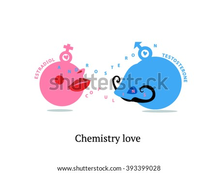 Chemistry love. Science of love. Hormones of love. Libido. Love at first sight. Hormones infographics. Hormone action. Funny illustration. - stock vector