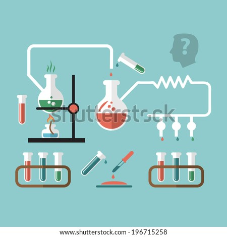 Chemistry molecular scientific research tube pipette reaction infografic chart presentation with burner flame doodle sketch vector illustration - stock vector