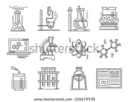Chemistry objects and supplies. Set of thin flat line style science and education vector icons. Design symbols for website and business. - stock vector