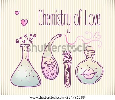 Chemistry of Love: bottle jar with pink hearts inside. Card. Vector illustration. Valentine's day concept.
