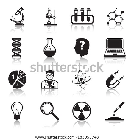 Chemistry or biology science icons set of test tube light bulb atom and pipette for school education isolated vector illustration - stock vector