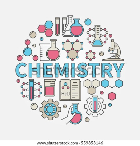 stock vector chemistry round colorful illustration vector science and education symbol made with word chemistry 559853146