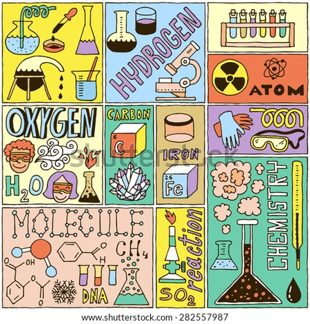 Chemistry Science Banners set. Color Hand Drawn Vector Illustrations.
