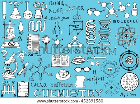 Chemistry Science Doodle Handwriting isolated Elements. Science and School Education theme.