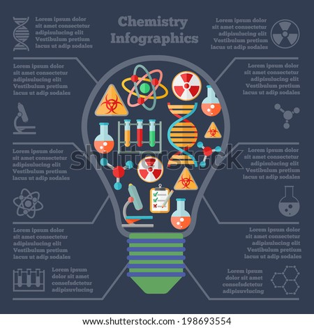 Chemistry scientific research technology infographic report bulb form layout presentation with dna symbol molecule structure vector illustration - stock vector