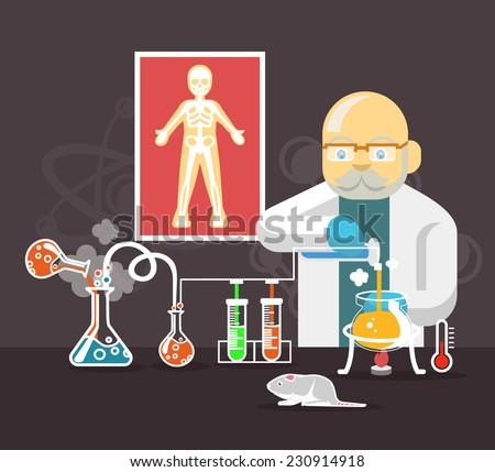 Chemistry scientist color flat vector illustration - stock vector