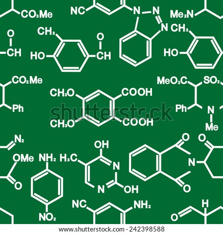 Chemistry seamless background pattern with formula in white on green conceptual of a scientific education or research in square format - stock vector