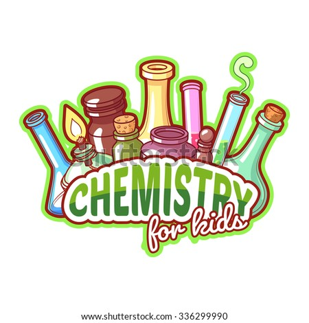 Chemistry title with chemical flasks on a white background for poster design. Vector clip-art illustration - stock vector