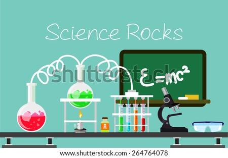 Chemistry vector flat illustration - stock vector