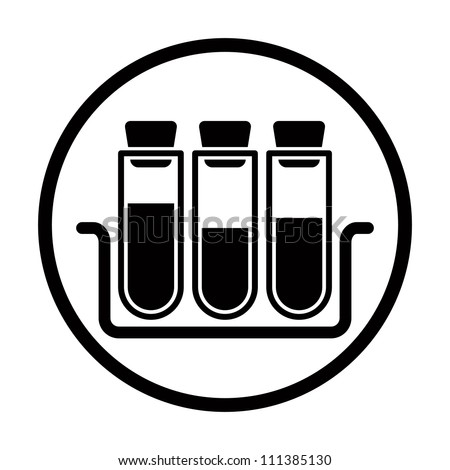 Chemistry vector icon with test tubes. - stock vector