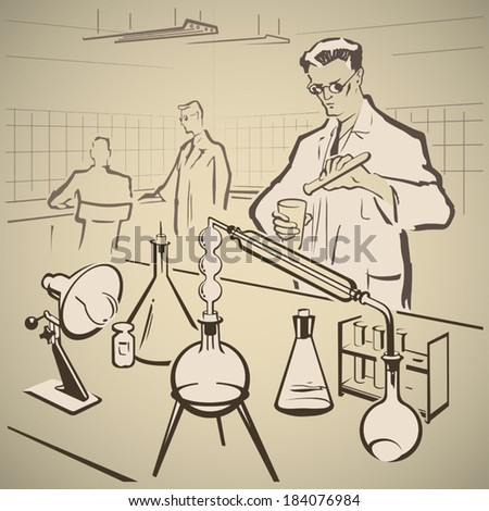 Chemists making experiments in the laboratory vector illustration - stock vector