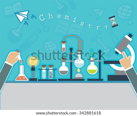 Chemists scientists equipment. flat design workspace concept. Chemistry and physics biology infographic icons. Laboratory lab with microscope, alembic vial hourglass dropper, vector illustration - stock vector