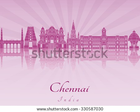 Chennai skyline in purple radiant orchid in editable vector file - stock vector