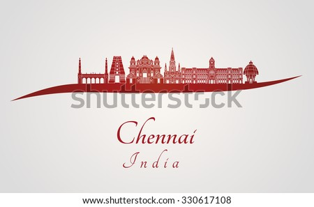 Chennai skyline in red and gray background in editable vector file