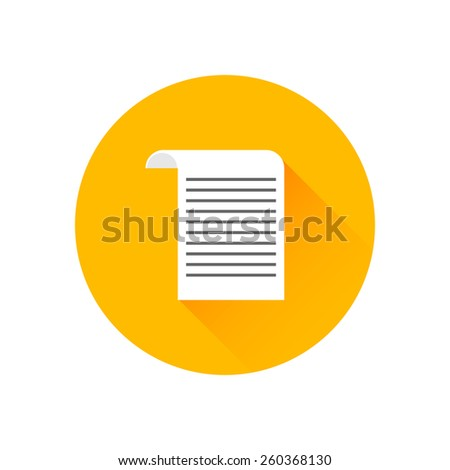 Cheque flat icon. Modern flat icon with long shadow effect in stylish colors. Icons for Web and Mobile Application. Isolated on white background - stock vector