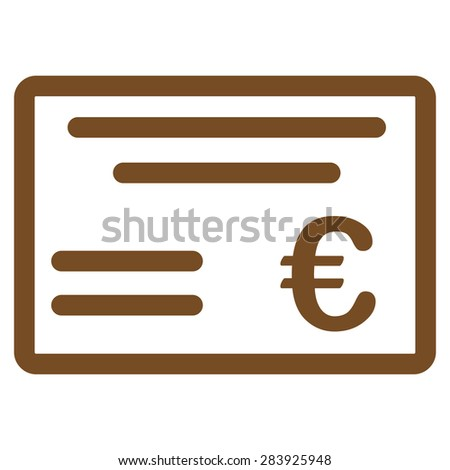 Cheque from BiColor Euro Banking Icon Set. Vector style: flat, brown symbol, rounded angles, white background. - stock vector