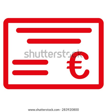 Cheque from BiColor Euro Banking Icon Set. Vector style: flat, red symbol, rounded angles, white background. - stock vector
