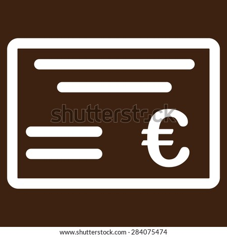 Cheque from BiColor Euro Banking Icon Set. Vector style: flat, white symbol, rounded angles, brown background. - stock vector